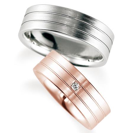 ペアリング(2本セット) 結婚指輪 マリッジリング 鍛造製法 K18ピンクゴールド&プラチナ900 ダイヤモンドリング 《Solid M0592WR》 【刻印無料 ケース付き 送料無料】 【A】