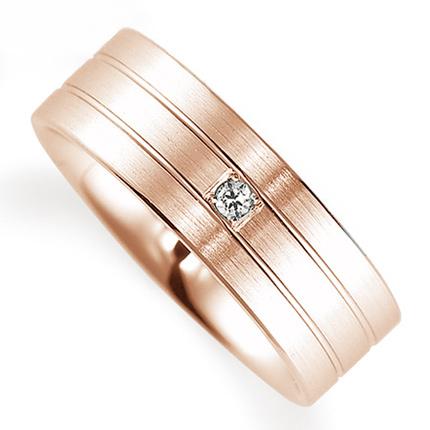 ペアリング(女性用) 結婚指輪 マリッジリング 鍛造製法 K18ピンクゴールド ダイヤモンドリング 《Solid M0592L》 【刻印無料 ケース付き 送料無料】 【A】