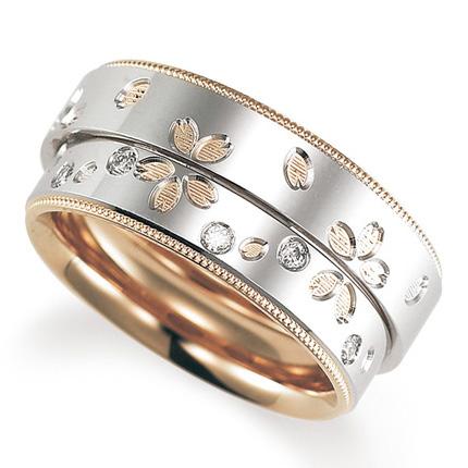 ペアリング(2本セット) 結婚指輪 マリッジリング 鍛造製法 プラチナ900/K18ピンクゴールド ダイヤモンドリング 《Solid M2078WR》 【刻印無料 ケース付き 送料無料】 【A】
