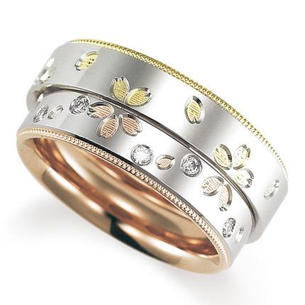 ペアリング(2本セット) 結婚指輪 マリッジリング プラチナ900/K18ピンク&イエローゴールド ダイヤモンドリング 《Solid M2078WR》 【刻印無料 ケース付き 送料無料】 【A】