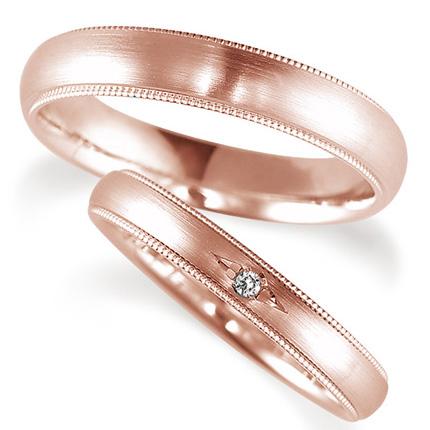ペアリング(2本セット) 結婚指輪 マリッジリング 鍛造製法 K18ピンクゴールド ダイヤモンドリング 《Solid M0671WR》 【刻印無料 ケース付き 送料無料】 【A】