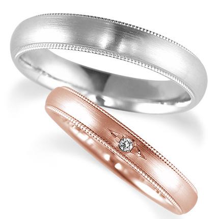 ペアリング(2本セット) 結婚指輪 マリッジリング 鍛造製法 K18ピンクゴールド&プラチナ900 ダイヤモンドリング 《Solid M0671WR》 【刻印無料 ケース付き 送料無料】 【A】