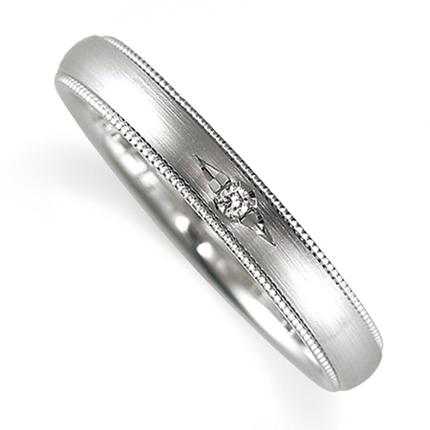 ペアリング(女性用) 結婚指輪 マリッジリング 鍛造製法 プラチナ900 ダイヤモンドリング 《Solid M0671L》 【刻印無料 ケース付き 送料無料】 【A】