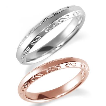 ペアリング(2本セット) 結婚指輪 マリッジリング 鍛造製法 手彫り加工 K18ピンクゴールド&プラチナ900 《Solid M2080WR》 【刻印無料 ケース付き 送料無料】 【A】