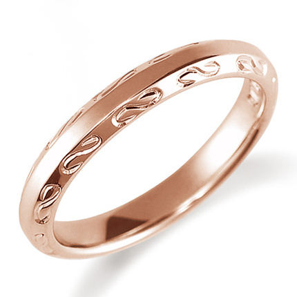 ペアリング(女性用) 結婚指輪 マリッジリング 鍛造製法 手彫り加工 K18ピンクゴールド 《Solid M2080L》 【刻印無料 ケース付き 送料無料】 【B】