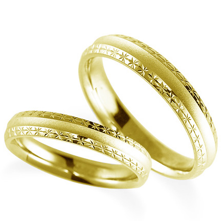 ペアリング(2本セット) 結婚指輪 マリッジリング 鍛造製法 K18イエローゴールド 《Solid M2075WR》 【刻印無料 ケース付き 送料無料】 【A】