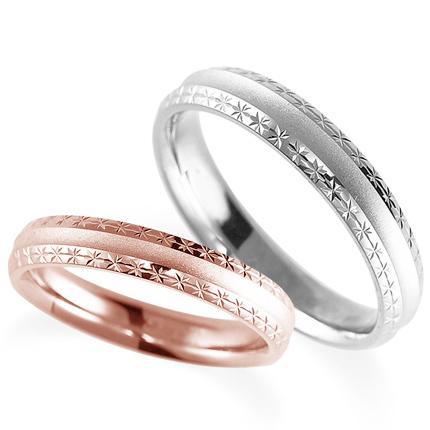 ペアリング(2本セット) 結婚指輪 マリッジリング 鍛造製法 K18ピンクゴールド&プラチナ900 《Solid M2075WR》 【刻印無料 ケース付き 送料無料】 【A】