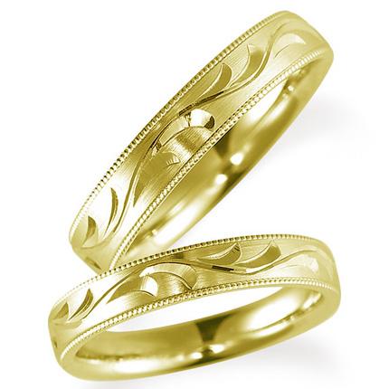 ペアリング(2本セット) 結婚指輪 マリッジリング 鍛造製法 手彫り加工 ミル打ち加工 K18イエローゴールド 《Solid M0705WR》 【刻印無料 ケース付き 送料無料】 【B】