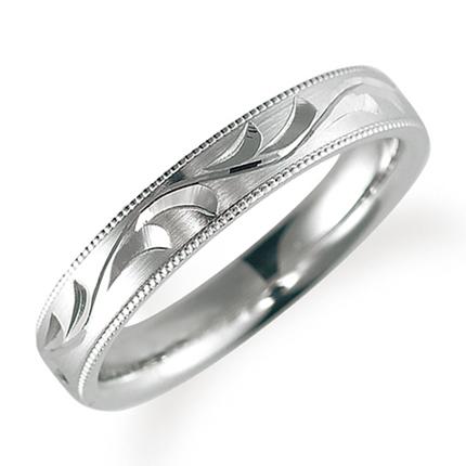 ペアリング(女性用) 結婚指輪 マリッジリング 鍛造製法 手彫り加工 ミル打ち加工 プラチナ900 《Solid M0705L》 【刻印無料 ケース付き 送料無料】 【A】