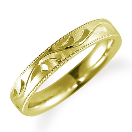ペアリング(女性用) 結婚指輪 マリッジリング 鍛造製法 手彫り加工 ミル打ち加工 K18イエローゴールド 《Solid M0705L》 【刻印無料 ケース付き 送料無料】 【A】