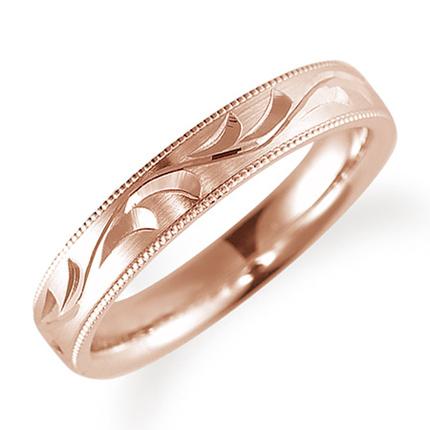 ペアリング(女性用) 結婚指輪 マリッジリング 鍛造製法 手彫り加工 ミル打ち加工 K18ピンクゴールド 《Solid M0705L》 【刻印無料 ケース付き 送料無料】 【A】