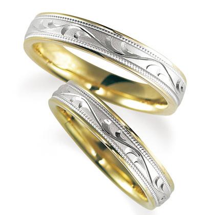 ペアリング(2本セット) 結婚指輪 マリッジリング 鍛造製法 手彫り加工 ミル打ち加工 プラチナ900/K18イエローゴールド ダイヤモンドリング 《Solid M2077WR》 【刻印無料 ケース付き 送料無料】 【A】
