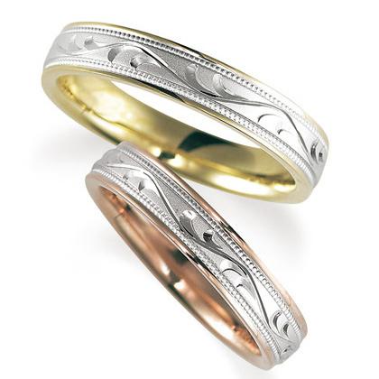 ペアリング(2本セット) 結婚指輪 マリッジリング プラチナ900/K18ピンク&イエローゴールド ダイヤモンドリング 《Solid M2077WR》 【刻印無料 ケース付き 送料無料】 【B】