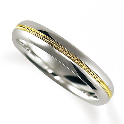 ペアリング(女性用) 結婚指輪 マリッジリング 鍛造製法 ミル打ち加工 プラチナ900/K18イエローゴールド 《Solid M2079L》 【刻印無料 ケース付き 送料無料】 【A】
