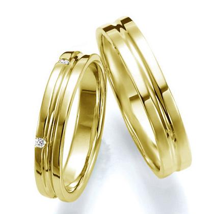 ペアリング(2本セット) 結婚指輪 マリッジリング 結婚記念 K18イエローゴールド 《Wish M0251》 ダイヤモンドリング ギフト 【刻印無料 ケース付き 送料無料】 【A】