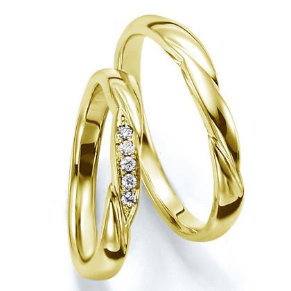 ペアリング(2本セット) 結婚指輪 マリッジリング 結婚記念 K18イエローゴールド 《Wish M0030》 ダイヤモンドリング ギフト 【刻印無料 ケース付き 送料無料】 【A】