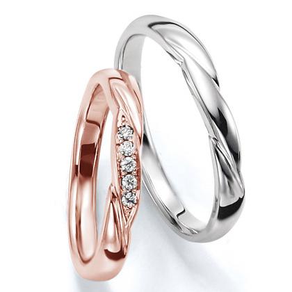 ペアリング(2本セット) 結婚指輪 マリッジリング 結婚記念 プラチナ900&K18ピンクゴールド 《Wish M0030》 ダイヤモンドリング ギフト 【刻印無料 ケース付き 送料無料】 【B】