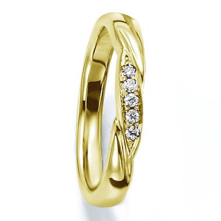 ペアリング(女性用) 結婚指輪 マリッジリング 結婚記念 K18イエローゴールド ダイヤモンドリング 《Wish M0030L》 【刻印無料 ケース付き 送料無料】 【A】