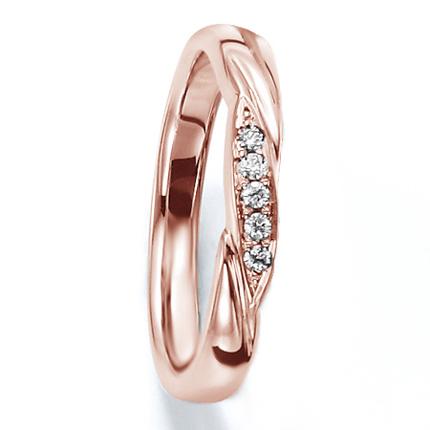 ペアリング(女性用) 結婚指輪 マリッジリング 結婚記念 K18ピンクゴールド ダイヤモンドリング 《Wish M0030L》 【刻印無料 ケース付き 送料無料】 【A】