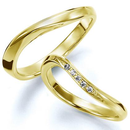 ペアリング(2本セット) 結婚指輪 マリッジリング 結婚記念 K18イエローゴールド 《Wish M0826》 ダイヤモンドリング ギフト 【刻印無料 ケース付き 送料無料】 【A】