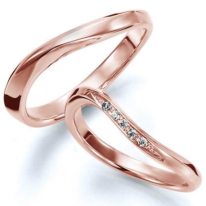 ペアリング(2本セット) 結婚指輪 マリッジリング 結婚記念 K18ピンクゴールド 《Wish M0826》 ダイヤモンドリング ギフト 【刻印無料 ケース付き 送料無料】 【B】