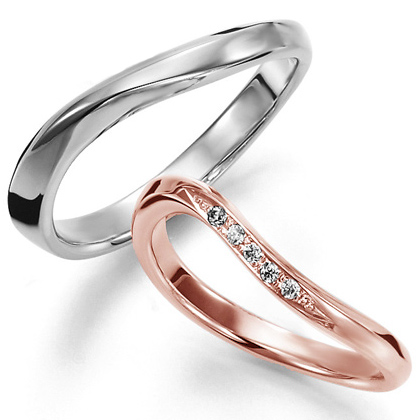 ペアリング(2本セット) 結婚指輪 マリッジリング 結婚記念 プラチナ900&K18ピンクゴールド 《Wish M0826》 ダイヤモンドリング ギフト 【刻印無料 ケース付き 送料無料】 【A】