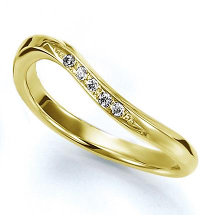 ペアリング(女性用) 結婚指輪 マリッジリング 結婚記念 K18イエローゴールド ダイヤモンドリング 《Wish M0826L》 【刻印無料 ケース付き 送料無料】 【A】