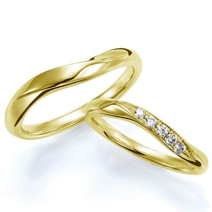 ペアリング(2本セット) 結婚指輪 マリッジリング 結婚記念 K18イエローゴールド 《Wish M0388》 ダイヤモンドリング ギフト 【刻印無料 ケース付き 送料無料】 【A】