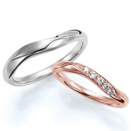 ペアリング(2本セット) 結婚指輪 マリッジリング 結婚記念 プラチナ900&K18ピンクゴールド《Wish M0388》 ダイヤモンドリング ギフト 【刻印無料 ケース付き 送料無料】 【A】
