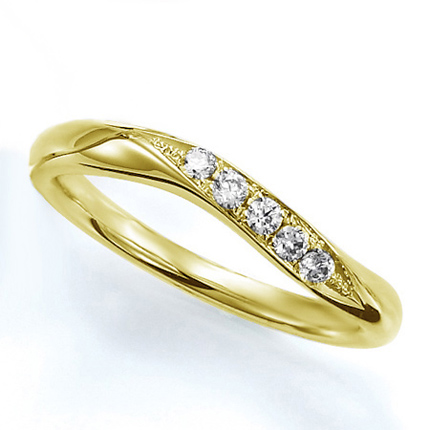 ペアリング(女性用) 結婚指輪 マリッジリング 結婚記念 K18イエローゴールド ダイヤモンドリング 《Wish M0388L》 【刻印無料 ケース付き 送料無料】 【A】