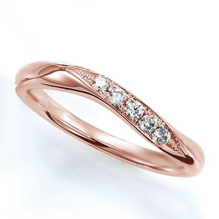ペアリング(女性用) 結婚指輪 マリッジリング 結婚記念 K18ピンクゴールド ダイヤモンドリング 《Wish M0388L》 【刻印無料 ケース付き 送料無料】 【B】