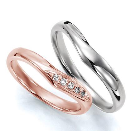 ペアリング(2本セット) 結婚指輪 マリッジリング 結婚記念 プラチナ900&K18ピンクゴールド 《Wish M0036》 ダイヤモンドリング ギフト 【刻印無料 ケース付き 送料無料】 【A】
