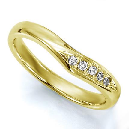 ペアリング(女性用) 結婚指輪 マリッジリング 結婚記念 K18イエローゴールド ダイヤモンドリング 《Wish M0036L》 【刻印無料 ケース付き 送料無料】 【B】