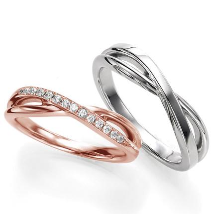 ペアリング(2本セット) 結婚指輪 マリッジリング 結婚記念 プラチナ900&K18ピンクゴールド 《Wish M0090》 ダイヤモンドリング ギフト 【刻印無料 ケース付き 送料無料】 【0420】