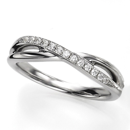 ペアリング(女性用) 結婚指輪 マリッジリング 結婚記念 プラチナ900 ダイヤモンドリング 《Wish M0090L》 【刻印無料 ケース付き 送料無料】 【0420】
