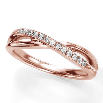 ペアリング(女性用) 結婚指輪 マリッジリング 結婚記念 K18ピンクゴールド ダイヤモンドリング 《Wish M0090L》 【刻印無料 ケース付き 送料無料】 【A】