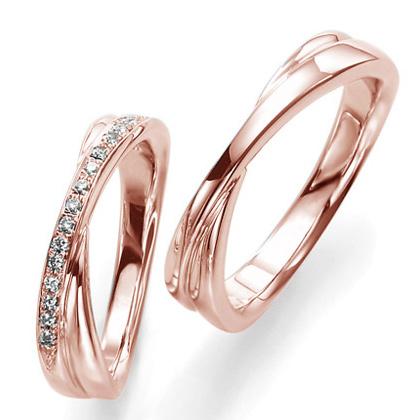ペアリング(2本セット) 結婚指輪 マリッジリング 結婚記念 K18ピンクゴールド 《Wish M0857》 ダイヤモンドリング ギフト 【刻印無料 ケース付き 送料無料】 【A】