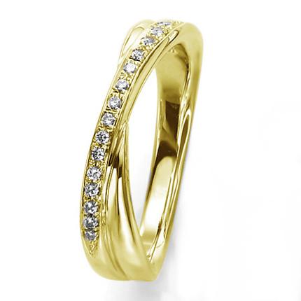 ペアリング(女性用) 結婚指輪 マリッジリング 結婚記念 K18イエローゴールド ダイヤモンドリング 《Wish M0857L》 【刻印無料 ケース付き 送料無料】 【A】