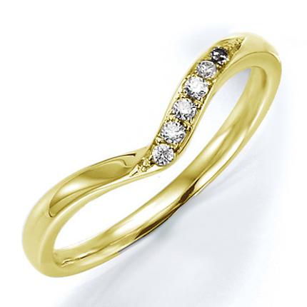 ペアリング(女性用) 結婚指輪 マリッジリング 結婚記念 K18イエローゴールド ダイヤモンドリング 《Wish M0240L》 【刻印無料 ケース付き 送料無料】 【A】