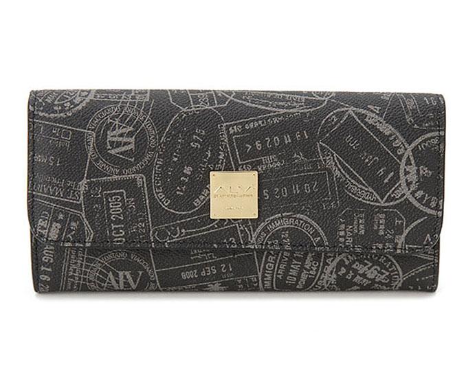 ALV  ≪エーエルブイ≫ 長財布 / WB5021 ブラック (BLACK) イタリア製 出入国スタンプ柄【★セール特価】【お買い得品】【プレゼント】【ギフト】【メンズ】【レディース】