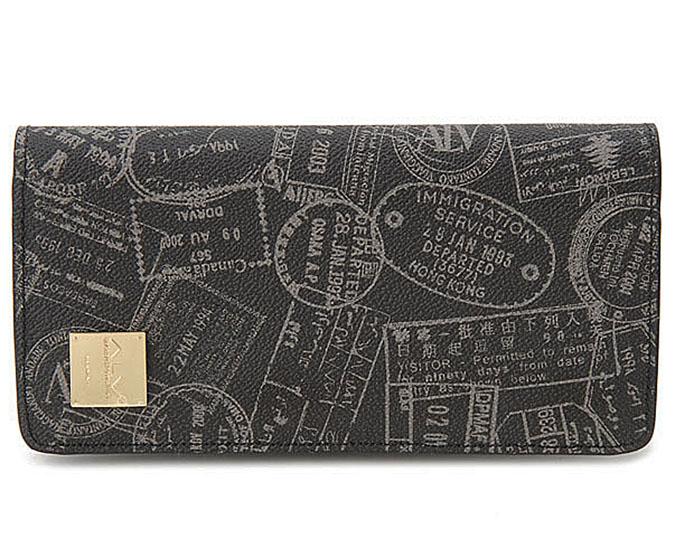 ALV  ≪エーエルブイ≫ 長財布 / WB5022 ブラック (BLACK) イタリア製 出入国スタンプ柄【★セール特価】【お買い得品】【プレゼント】【ギフト】【メンズ】【レディース】