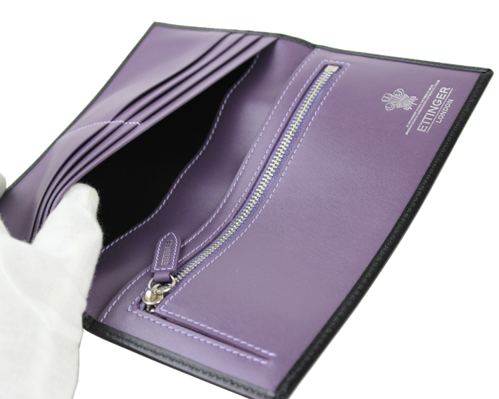ETTINGERエッティンガー長財布 小銭入れ付きST953AEJR ロイヤルコレクション ブラック x内面パープル