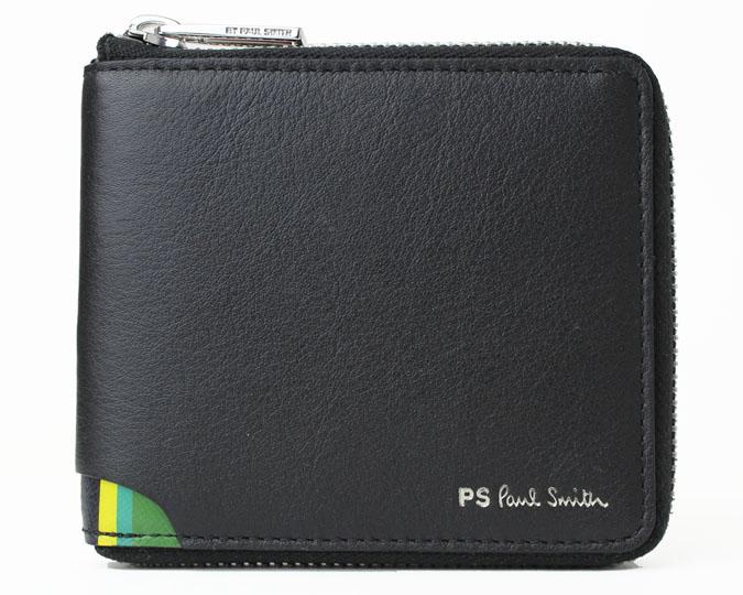 PS Paul Smith  ≪ピーエス ポールスミス≫ ラウンドファスナー 二つ折り財布 M2A-6144-APSSTR 牛革 カウレザー ブラック 小銭入れあり  【送料無料】【セール】