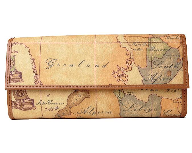 PRIMA CLASSE  ≪プリマクラッセ≫ 長財布  W018 -6000 (#78) 世界地図柄 ※実際にお送りする柄目は掲載写真1~2枚目をご参照下さい。 折財布 【送料無料】【セール価格】