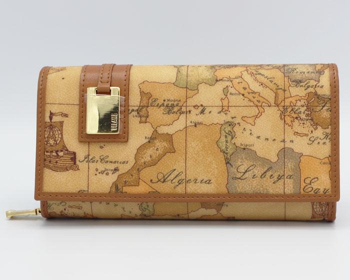 PRIMA CLASS  ≪プリマクラッセ≫ 長財布 / W026 -6000 (#89) 世界地図柄 ※実際にお送りする柄目は1~2枚目をご参照ください。 3枚目以降はイメージ画像です。 【★セール価格】
