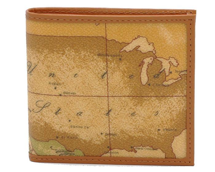 PRIMA CLASSE  ≪プリマクラッセ≫ W103 -6000 (#73) ふたつ折り財布  世界地図柄  ブラウン PVCx レザー(画像1、2枚目の柄目をお送りします。) 二つ折財布 【★セール価格】