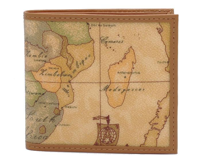 PRIMA CLASSE  ≪プリマクラッセ≫ W103 -6000 (#75) ふたつ折り財布  世界地図柄  ブラウン PVCx レザー(画像1、2枚目の柄目をお送りします。)二つ折財布 【送料無料】【★セール価格】