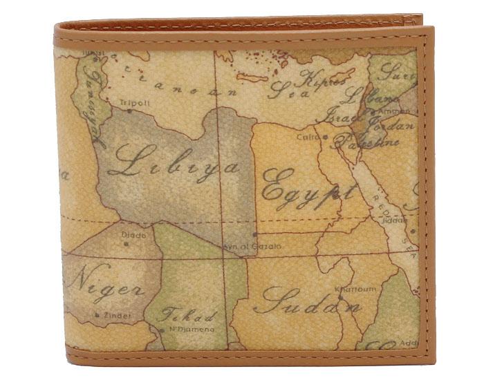 PRIMA CLASSE  ≪プリマクラッセ≫ W103 -6000 (#76) ふたつ折り財布  世界地図柄  ブラウン PVCx レザー(画像1、2枚目の柄目をお送りします。) 二つ折財布 【送料無料】【★セール価格】