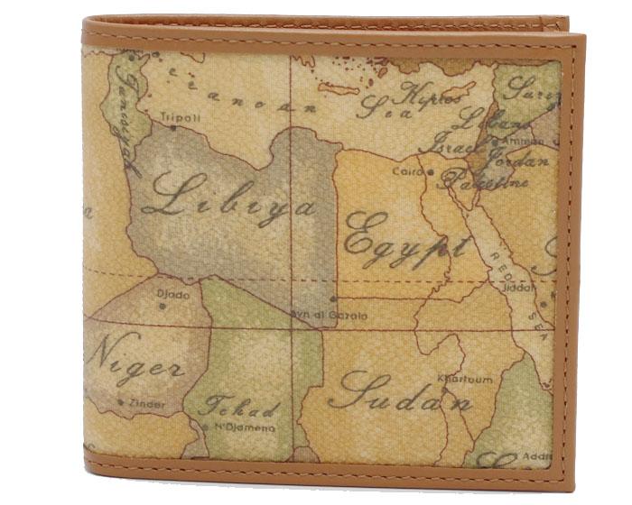 PRIMA CLASSE  ≪プリマクラッセ≫ W103 -6000 (#77) ふたつ折り財布  世界地図柄  ブラウン PVCx レザー(画像1、2枚目の柄目をお送りします。) 二つ折財布 【送料無料】【★セール価格】
