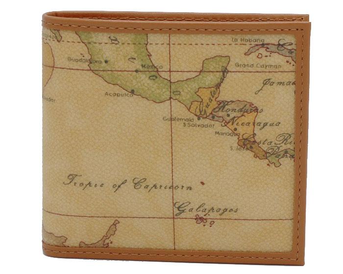 PRIMA CLASSE  ≪プリマクラッセ≫ W103 -6000 (#78) ふたつ折り財布  世界地図柄  ブラウン PVCx レザー(画像1、2枚目の柄目をお送りします。) 二つ折財布 【送料無料】【★セール価格】